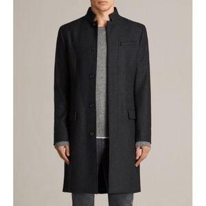 AllSaints Men's Charcoal Wool Coat